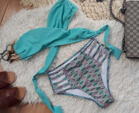 bikini wysoki stan M 38 aztecki wzór paski wycięcia