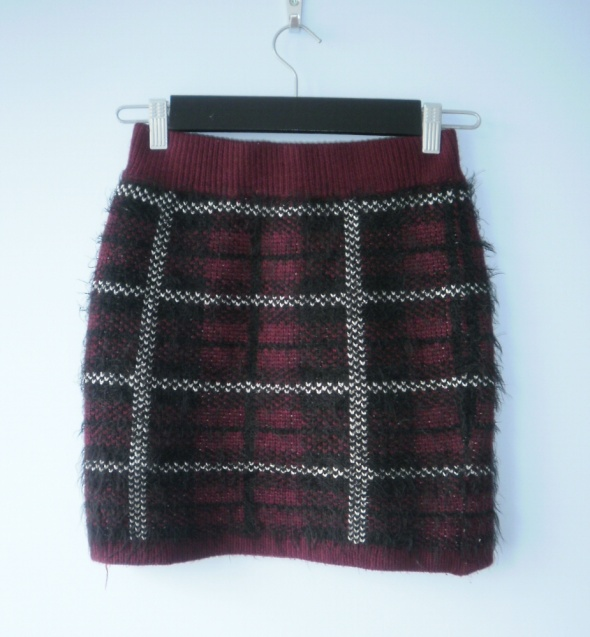 Select spódniczka mini włochata w kratkę asos bord...