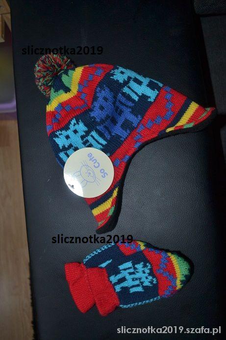 Nowy komplecik zimowy czapka rękawiczki 74cm
