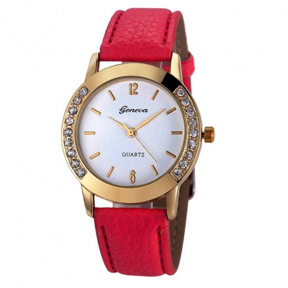 Geneva zegarek z cyrkoniami różowy pasek