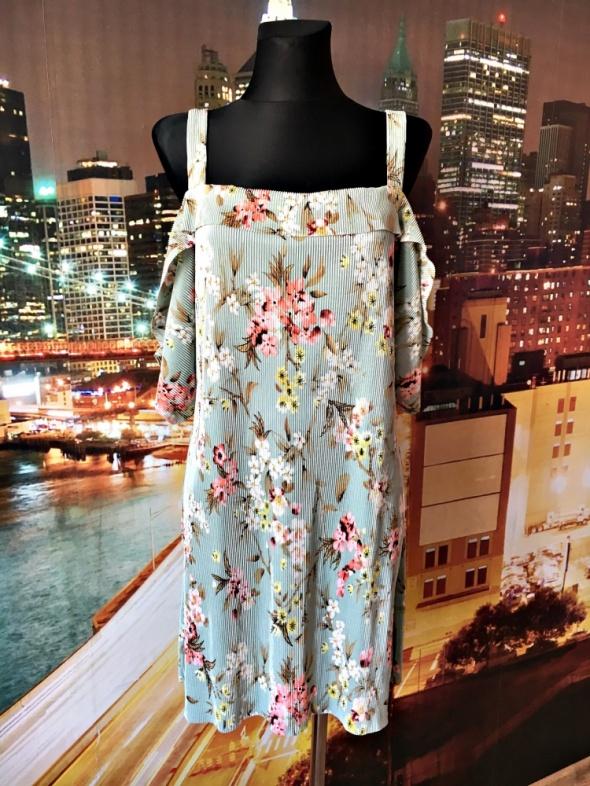 mango sukienka luźny fason plisowana kwiaty 38 M