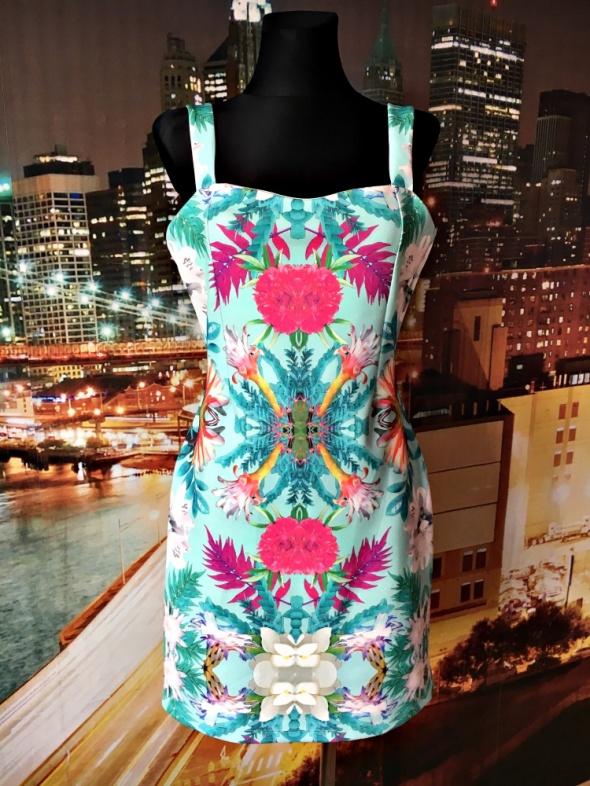 sukienka ołówkowa kwiaty floral modny wzór hit 40 L