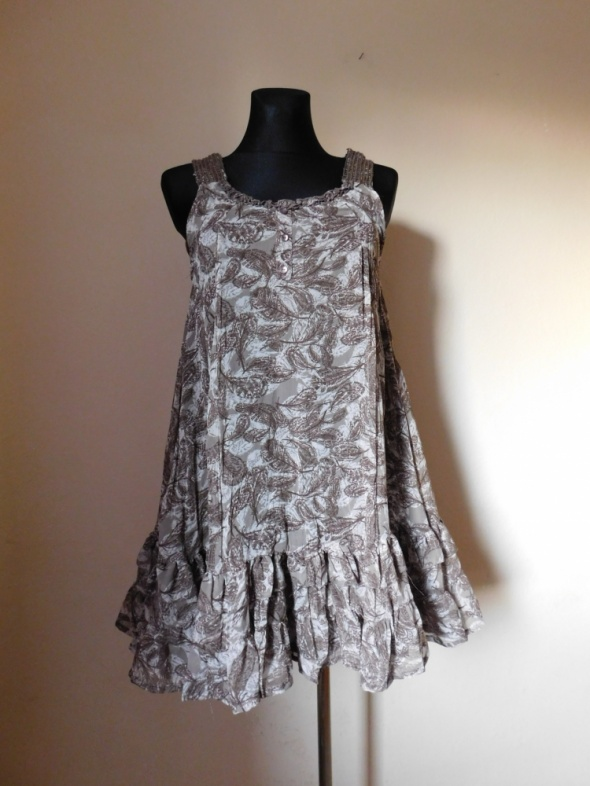 Evie beżowa sukienka mini mgiełka nowa 40