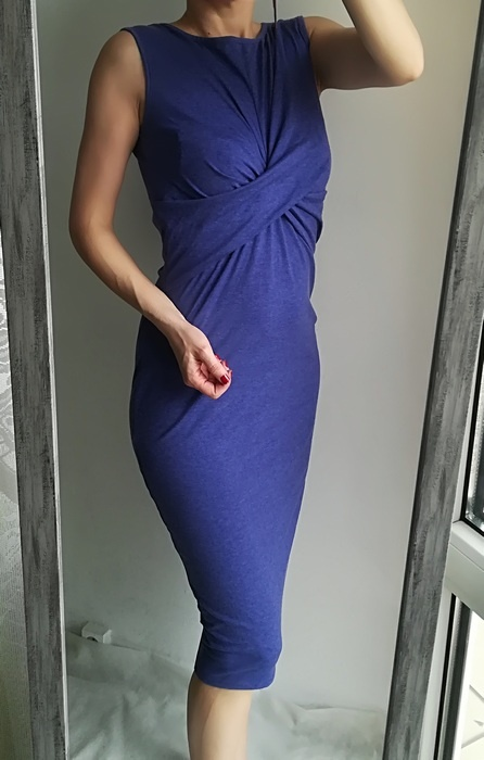 G21 sukienka midi niebieska węzeł M L