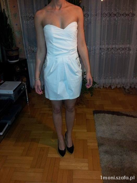 Biała elegancka sukienka tulipan S