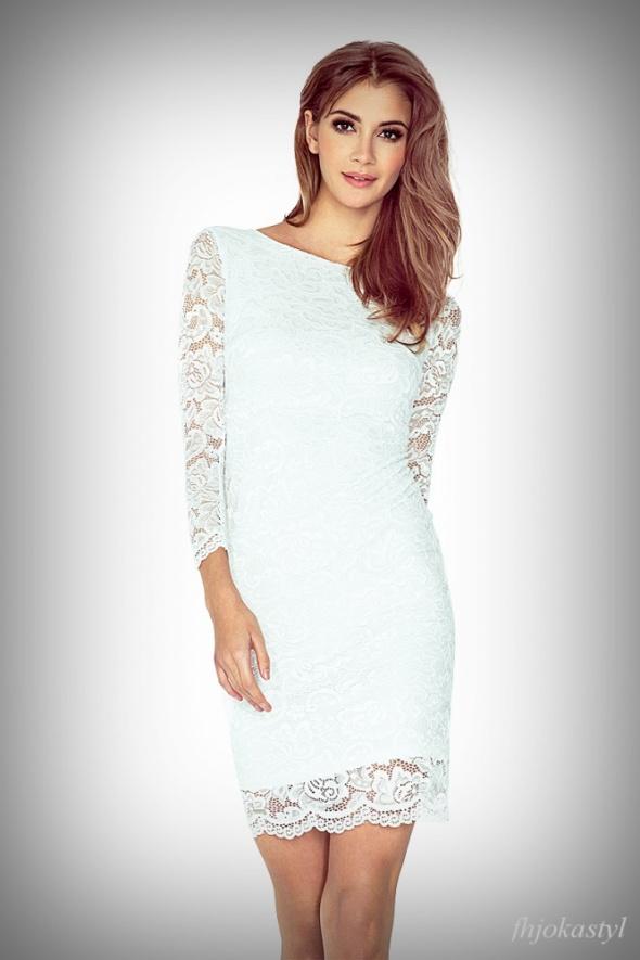 śliczna sukienka KORONKOWA ecru L 40