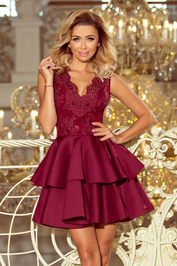 Alexis sukienka z piankowym dołem i koronkową górą BORDOWA