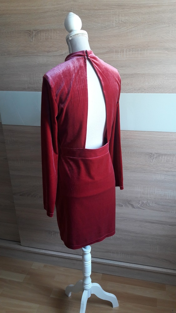 Nowa czerwona malinowa sukienka welurowa H&M 38...