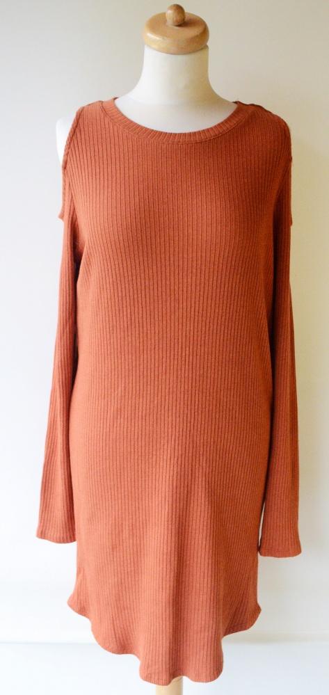 Sukienka Pomarańczowa Odkryte Ramiona Prążki XL 42 Gina Tricot