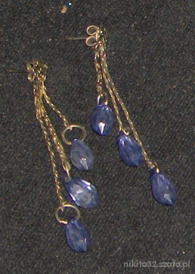Niebieskie łezki kolczyki