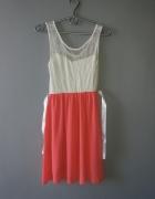 Idealna kremowo koralowa sukieneczka...