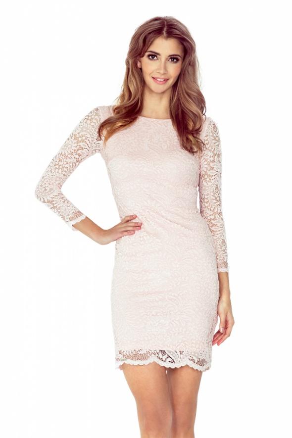 śliczna sukienka KORONKOWA brzoskwiniowa XXL 44