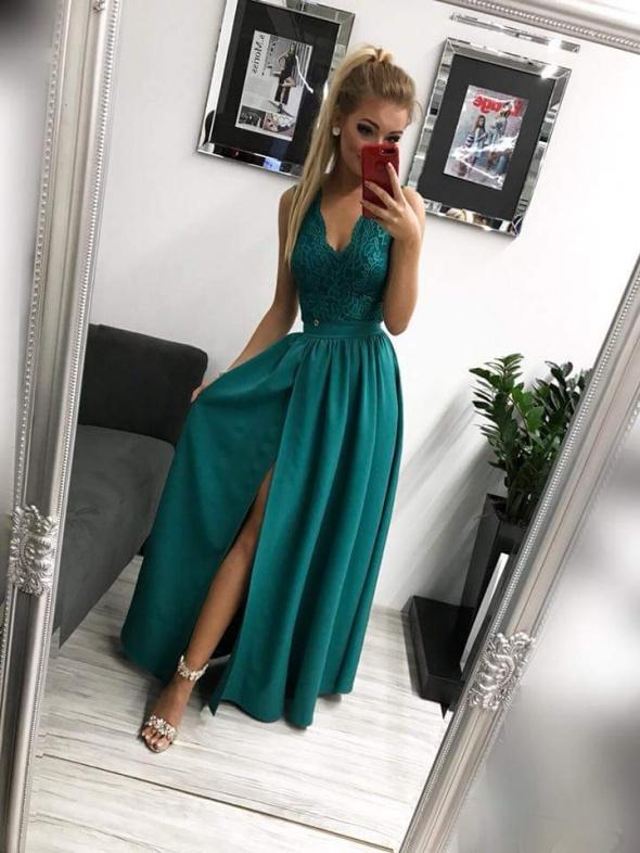 Maxi sukienka glamour butelkowa zieleń