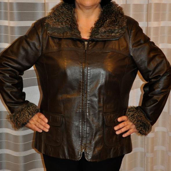 brązowa skórzana kurtka z futerkiem
