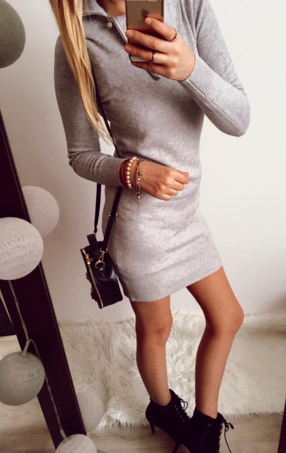 Szara sukienka Damska Sweterkowa M L
