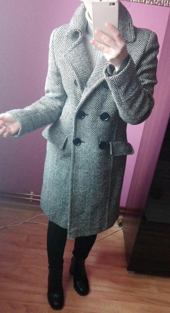 Szary płaszcz w jodełkę wełniany rozmiar Xs S