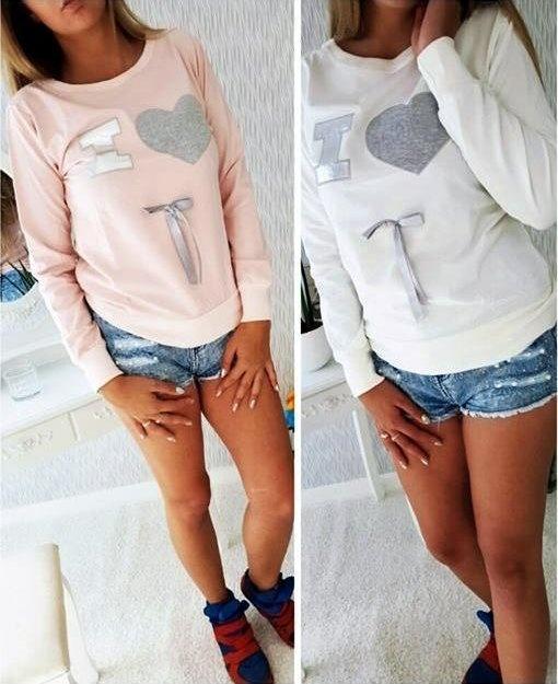 Świetna biała bluza serce kokardka