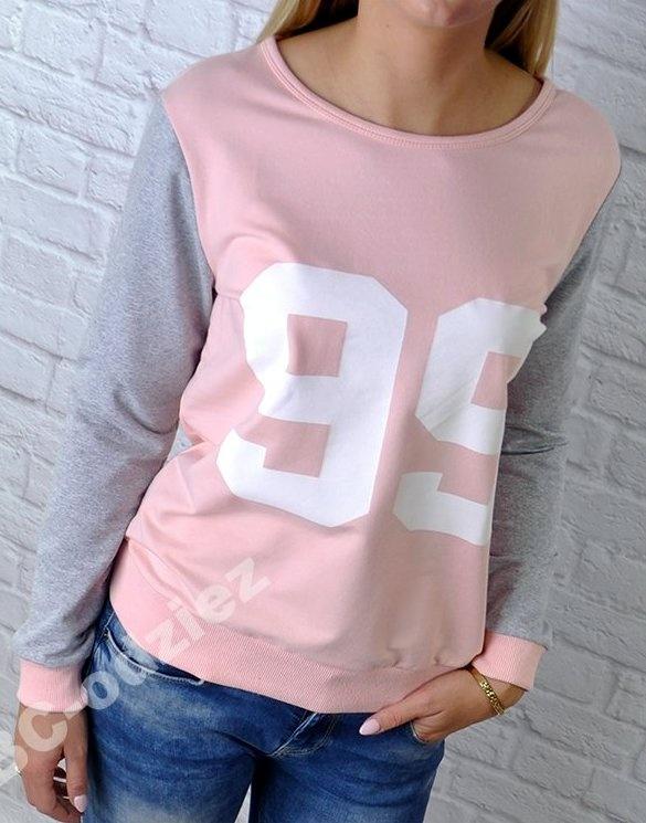 Świetna różowa bluza kokardka na plecach numerek