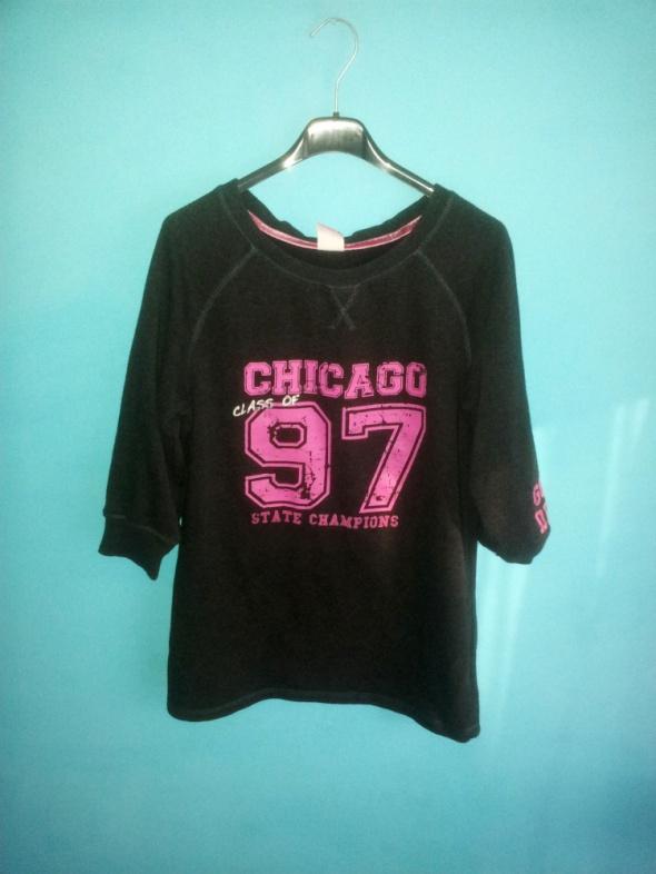 Ciemnoszara bluza z różowym nadrukiem 36