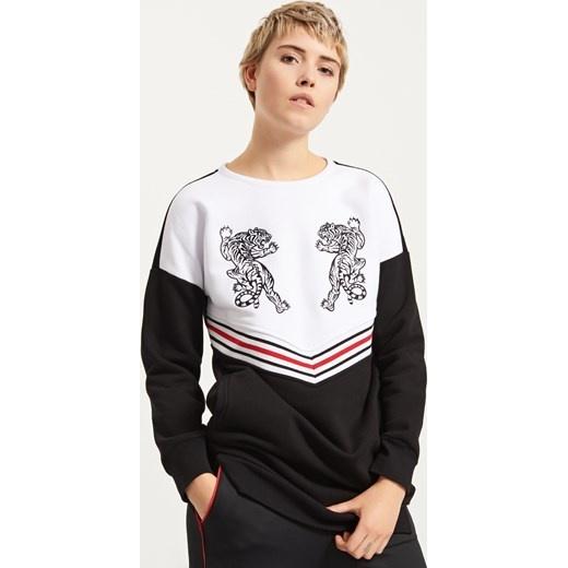 Reserved długa bluza tunika z haftami w tygrysy ciepła m