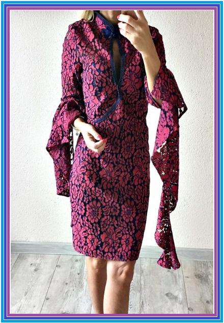 ASOS sukienka ołówkowa koronka gipiura ozdobne rękawy M...