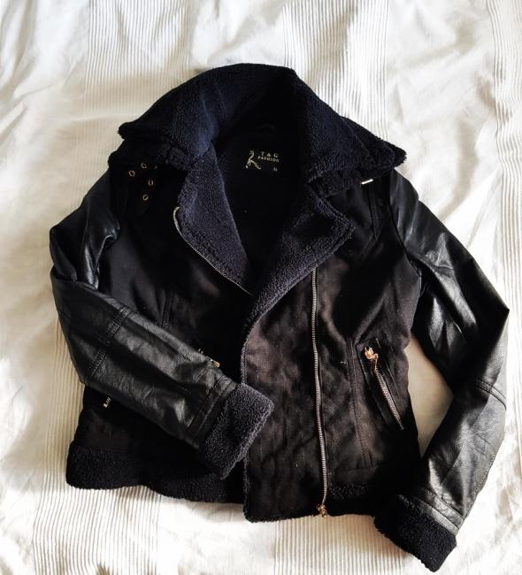 Odzież wierzchnia czarna ramoneska kożuszek