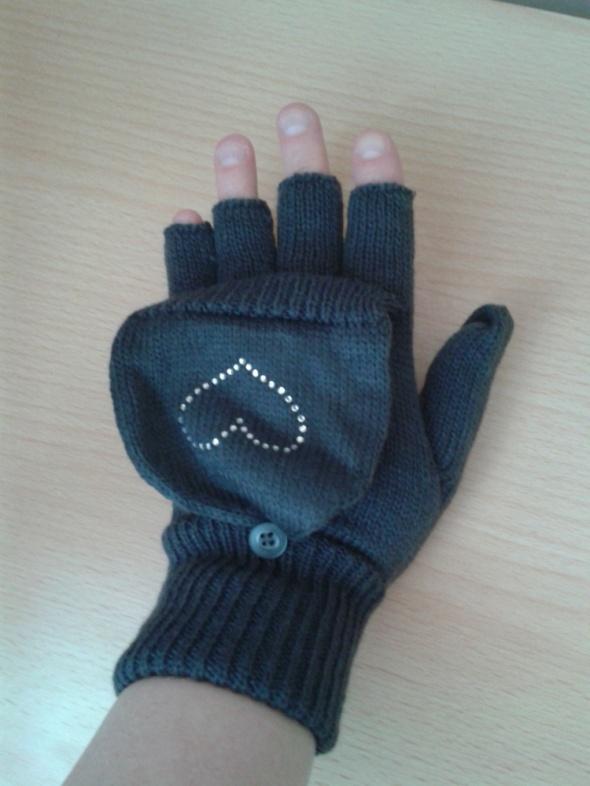 Szare rękawiczki bez palców z klapką H&M serduszko nowe