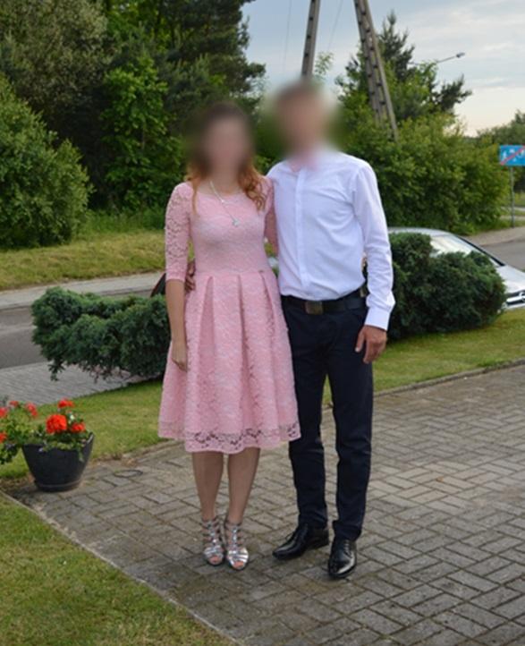 Sukienka koronka różowa pudrowy róż rozm 40 L