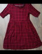 Sukienka czerwono czarna w kratę ROCK rozm 36 S...
