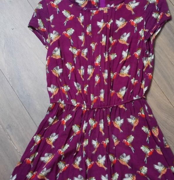 Sukienka fioletowa w pomarańczowe papugi tropikalny wzór rozm 36 S
