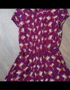 Sukienka fioletowa w pomarańczowe papugi tropikalny wzór rozm 3...