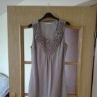 Zjawiskowa sukienka w kolorze beżu o luźnym kroju jak lata 20 Rozmiar 34
