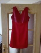 Czerwona sukienka z bordową imitującą skórę górą Rozmiar 36