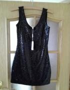 Czarna sukienka mini z cekinami Rozmiar 36