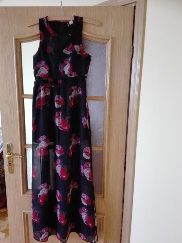 Suknie i sukienki Zjawiskowa długa szyfonowa sukienka w kwiaty Rozmiar 34