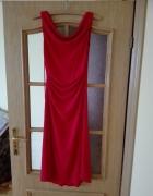 Seksowna sukienka za kolano jak do tanga malinowa czerwień Rozmiar 36
