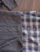 Sweter warkocz z koszula m l