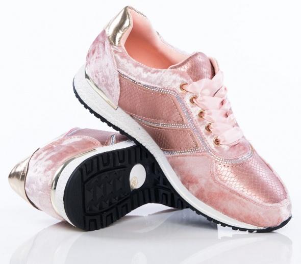 Air max buty sportowe różowe pink wstążki cyrkonie różowe złoto...