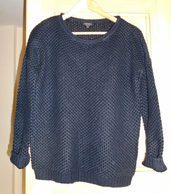 Amisu granatowy ciepły sweter oversize klasyka...