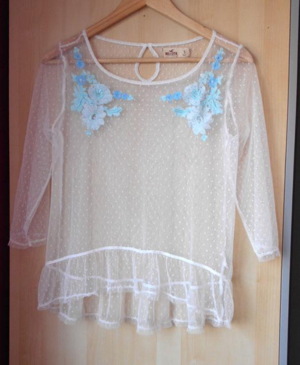 Hollister nowa bluzka mgiełka plumeti biała hafty kwiaty floral...