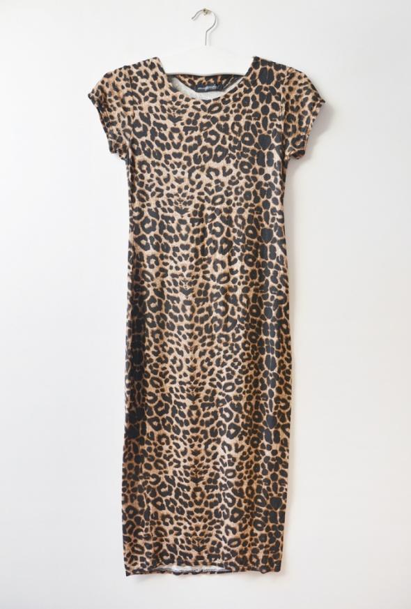 panterkowa sukienka maxi S