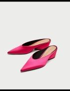 Nowe różowe klapki satynowe Zara 38