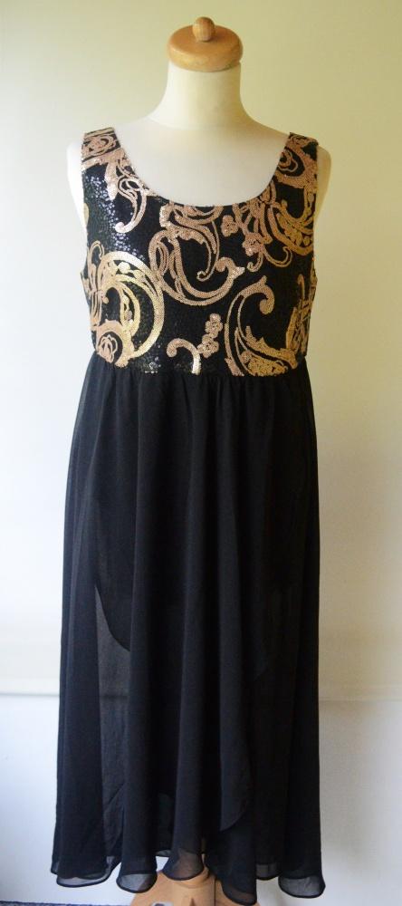 Sukienka Czarna Cekiny B Young XL 42 Wesele Elegancka...