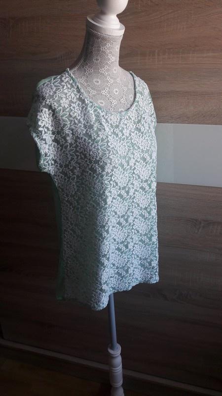 Miętowa bluzka z koronką 40 Amisu...