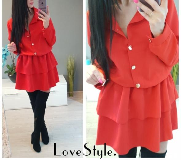 Czerwona sukienka falbany guziczki s m l