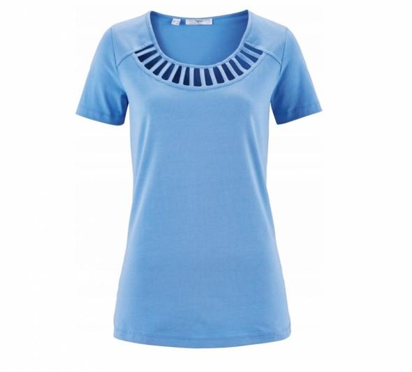 NOWA bluzka niebieska paski sznurki STRAPSY 36 S...