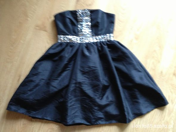 Suknie i sukienki Rozkoloszowana czarna z cyrkoniami
