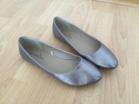 Śliczne brokatowe buty metaliczne balerinki