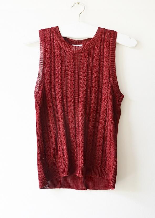 bordowy top sweterkowy S