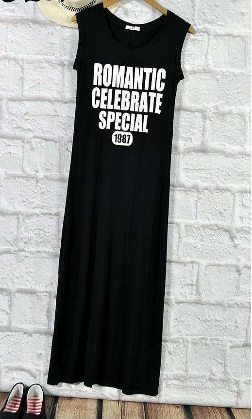 Świetna czarna maxi sukienka biały nadruk